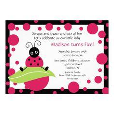 Bright  Bold Ladybug Birthday Invitation.  $2.05