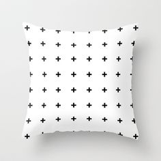 Black Cross on White // Black Plus on White Throw Pillow by Pencil Me In