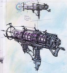 Fallout Fallout Fan Art, Fallout Concept Art, Game Concept Art, Weapon Concept Art, Fallout Weapons, Sci Fi Weapons, Stranger Of Sword City, Dr Octopus, Steampunk