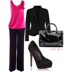 Hot Pink at Work, created by styleofe on Polyvore