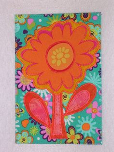 Flower Birthday Mom Friend Card -MADE TO ORDER- Frame Gift Thank You Housewarming Fabric Postcard Art Quilt Fabric Appliqued 4 x 6 art quilt