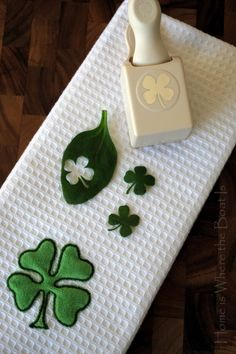Use a shamrock paper punch and spinach leaves to make edible shamrocks. Now why didn't I think of that?!