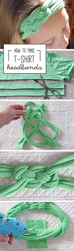 This no-sew headband is made from an old T-shirt and is surprisingly easy to DIY. All you need are scissors, an old tee and a hot glue gun and glue stick. Instructions on the site: http://www.ehow.com/how_7845514_make-headbands-out-shirts.html?utm_source=pinterest.com&utm_medium=referral&utm_content=article&utm_campaign=fanpage