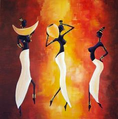 Painting by Marguerite Rodriguez (France) Black Art Painting, Black Artwork, Arte Tribal, Tribal Art, Simple Canvas Paintings, Canvas Art, Art Afro, Africa Painting, Afrique Art