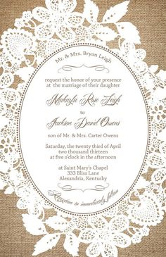 Burlap and Lace Wedding Invitation Suite Custom by InvitingMoments