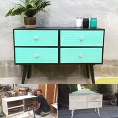 Wow! Stockist My Sister's House in Queensland, Australia created a beautiful custom green color for this mid-century modern chest of drawers. They mixed Florence and Pure White Chalk Paint® by Annie Sloan for this beauty.