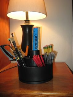 Such a fun idea! Organize school supplies with the Tool Turnabout.