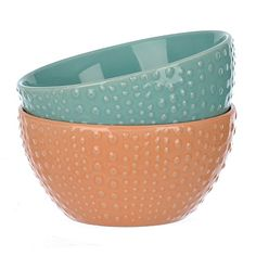 Turquoise and Coral Dot Bowls, Set of 2