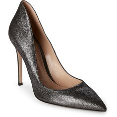 Gianvito Rossi Crash Silver Decollete Pumps ($400) ❤ liked on Polyvore featuring shoes, pumps, grays, slip on shoes, silver high heel shoes, gray pumps, grey pumps and metallic pointed toe pumps