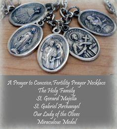 Fertility Prayer 5 Holy Medal Necklace St. Gerard by MarysPrayers, $20.00
