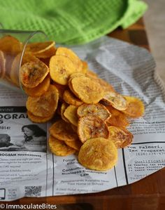 Plantain chips:  2 green or slightly yellow plantains ½ teaspoons salt 1 teaspoons smoked paprika freshly ground pepper cooking spray or oil for coating plantains/baking pan