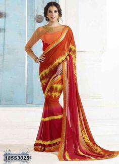 Ravishing Red Coloured Georgette Casual saree