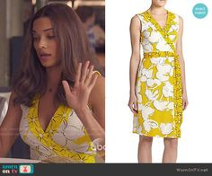 April's yellow floral wrap dress on Mistresses.  Outfit Details: http://wornontv.net/51543/ #Mistresses