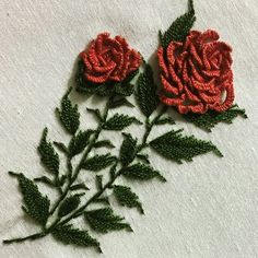 Surround yourself with beauty. Contemporary Embroidery, Modern Embroidery, Embroidery Art, Bullion Embroidery, Embroidery Stitches, Embroidery Patterns, Casting On Stitches, Embroidered Roses, Easy Stitch