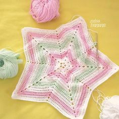 My star is growing!  Trying a star shape blanket for my lovey using my favourite cotton yarn from @threebearsyarn It's gonna be a lightweight blanket as it's so hot here this DK yarn gives the right amount of softness and fluffiness to the lovey  Colour combi: pure white gentle green baby pink  #wip #lovey #lovhey #threebearsyarn #blanket #babygirl #crochet #star #babyblanket #crochetaddict #yarn #instacrochet #cottonyarn #instamom #girl #babygift #securityblanket #progress #missbananacrafts…