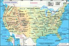USA Map // The United States of America (USA) is a constitutional republic in North America. It has 50 states and one Federal State, the capital, Washington DC. The USA remains one of the leading nations in the world in terms of economic output and its influence on world events.