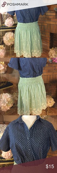 Max Studio skirt and CJ banks top Max Studio skirt blue and green with embroidered cream detail. Skirt is marked medium but it is very stretchy. It stretches from 32 inches to 48 inches. The skirt is 22 inches long. 100% cotton. Previously owned. CJ Banks chambray polka dot button down shirt. It is marked 1X but has no stretch and runs small. 46 inches around and 21 inches long. 100% cotton. Previously owned. Please look at all pictures for best description of the items. Ask me any questions…