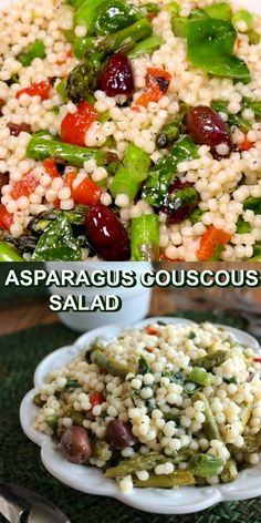 Pearl Couscous Salad has an array of veggies along with the Israeli couscous including asparagus & olives. A cold Mediterranean couscous salad is the best! Pearl Couscous Recipes, Pearl Couscous Salad, Mediterranean Couscous Salad, Israeli Couscous Salad, Couscous Salat, Vegan Couscous Recipes, Best Salad Recipes, Easy Healthy Recipes, Couscous