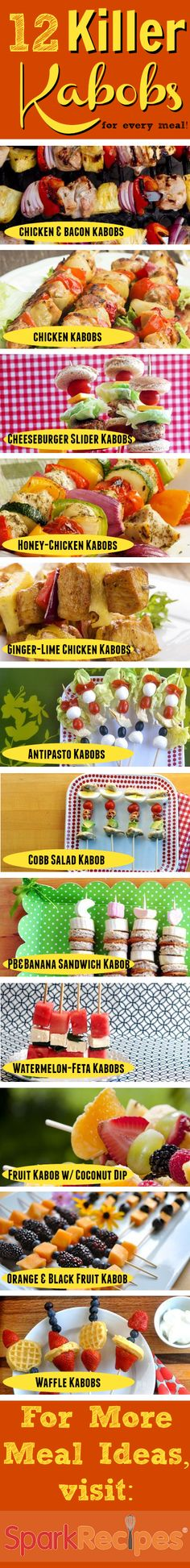 12 Healthy Dishes Served on a Stick. Wonderful recipes! | via @SparkPeople #LaborDay #healthy