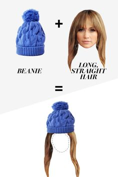 """Bradbury favors beanies on long hair for a good reason: """"People with short hair may feel like the hat is too dominant if there isn't any visible hair to balance it out,"""" she says. All other stylists agree: Medium to long hair is the way to go. """"I like these hats with hair that's been a bit tousled and is back away from the face,"""" recommends Rosenkranz."""