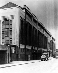 The expensive Art Deco facade of the East Stand at Highbury as seen from the street outside (1950)