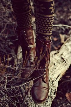 lace-up boots and knit leggins