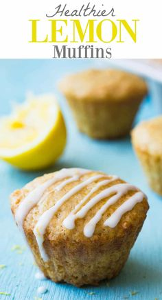 This small batch of healthier lemon muffins will definitely brighten up your breakfast in the morning. Made with whole wheat flour, greek yogurt, and fresh squeezed lemon juice. In a small batch. Muffins Blueberry, Lemon Poppyseed Muffins, Lemon Muffins, Morning Glory Muffins, Healthy Muffins, Healthy Desserts, Dessert Recipes, Healthy Baking, Easy Desserts
