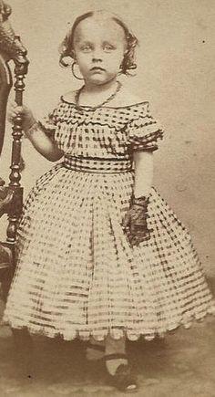 1860s Darling Little Girl in Off Shoulder Dress Necklace Lace Gloves CDV | eBay