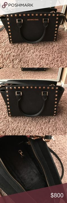 NWOT-Studded MK Selma Large Bag Brand new! Took the tags off and never ended up using. Love this purse but I have the crossbody Selma i used all the time, and find this sitting without any love. Has care card! Has black interior, such a gorgeous piece. Not sure if I'm willing to give up yet, open to trades! Trade value is RV. Comes with long strap :). No flaws whatsoever. Is black with gold hardware MICHAEL Michael Kors Bags Crossbody Bags