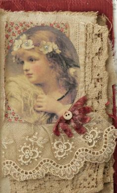 Mixed Media Fabric Collage of Little Angels at Christmas | eBay
