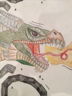 dit is nog de inzoom van de draak. ik heb de ogen aangepast zodat ze nog veel bozer kijken en ik heb de tong langer gemaakt voor een soort eng effect en de tanden een beetje viezig.