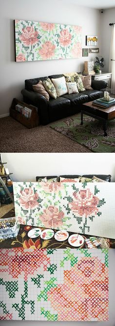 Cross Stitch Wall Art Tutorial How to make a large scale piece of cross stitch wall art. It's easier than you think and the results are beautiful! If you really like arts and crafts you will love this cool website! Diy Wall Art, Diy Art, Cross Stitching, Cross Stitch Embroidery, Cross Stitch Art, Modern Cross Stitch, Diy Home Decor, Diy Projects, Diy Crafts