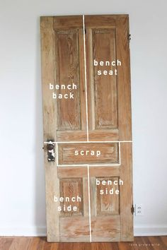 See how an old wood door transforms into a gorgeous, rustic bench! Get the full tutorial on LoveGrowsWild.com