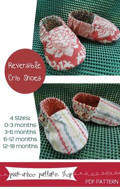 fairytale frocks and lollipops :: peek-a-boo pattern shop, reversible crib shoes, baby shoe, girl shoes, boy shoes, e-pattern, downloadable pattern, pdf pattern, e-book, tutorial