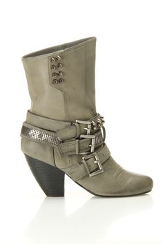 Gray Studded Buckle Boots. Freaking cute!
