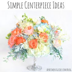 A centerpiece adds beauty to a table design, and if you're entertaining you may want to try these decor ideas. Simple Centerpieces, Centerpiece Ideas, Apartment Guide, Floral Supplies, A Table, Dinner Table, Wedding Decorations, Wedding Ideas, Hydrangea