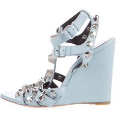 Pre-owned Balenciaga Studded Arena Sandals ($325) ❤ liked on Polyvore featuring shoes, sandals, blue, balenciaga shoes, ankle strap sandals, blue sandals, leather ankle strap sandals and wedge shoes