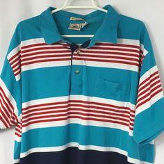 Vintage Mens Polo XXXL Red White Blue Striped Short Sleeve Manhattan Nature Knit #ManhattanNatureKnit #PoloRugby