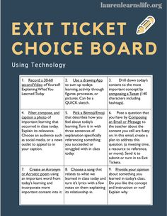 Choice Boards in the Classroom Through Using Exit Tickets & Technology. From ways to check understan High School Classroom, English Classroom, Biology Classroom, Classroom Door, Business Education Classroom, Flipped Classroom, Classroom Ideas, Teaching Technology, Educational Technology