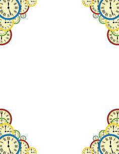 Printable clock border. Free GIF, JPG, PDF, and PNG downloads at http://pageborders.org/download/clock-border/