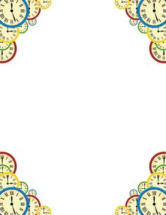 Printable clock border. Free GIF, JPG, PDF, and PNG downloads at http://pageborders.org/download/clock-border/