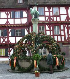 Fountain decorated for Easter in Forchheim, Germany