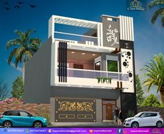 Friend father make elevation for client requirements House Front Wall Design, Single Floor House Design, House Outside Design, 3 Storey House Design, Bungalow House Design, Modern House Design, Narrow House Designs, Latest House Designs, Building Elevation
