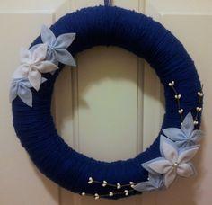 Blue & White Yarn Winter Wreath
