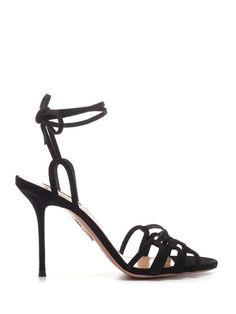 AQUAZZURA Black suede ankle tie sandals. #aquazzura #shoes