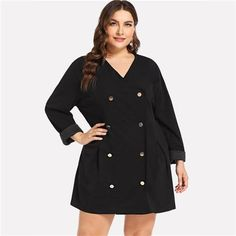 6ae68d27e9d SHEIN Women Double Buttoned Plus Size Black Coat