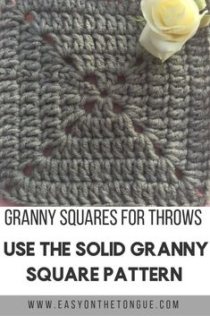 The most popular Granny Squares to use for Throws granny squares for throws – the solid granny square pattern 4 Motifs Granny Square, Granny Square Pattern Free, Sunburst Granny Square, Flower Granny Square, Crochet Granny Square Afghan, Granny Square Crochet Pattern, Crochet Squares, Easy Crochet Patterns, Granny Squares