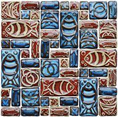 hand craft porcelain tiles backsplash blue mix red ceramic - Schwarzweimosaikfliese Backsplash
