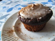 Vegan and paleo pumpkin cupcakes with cinnamon icing