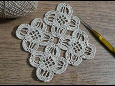 How To Crochet Flower Motif Tutorial 45 - Diy Crafts Filet Crochet, T-shirt Au Crochet, Crochet Shirt, Thread Crochet, Irish Crochet, Crochet Stitches, Crochet Coaster Pattern, Crochet Motif Patterns, Crochet Diagram